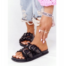 PS1 Slippers With Buckles And Fur Black Lydia 2