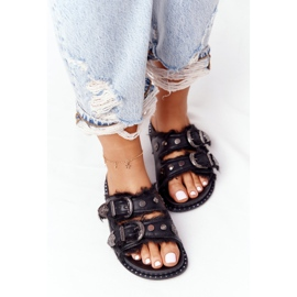 PS1 Slippers With Buckles And Fur Black Lydia 1