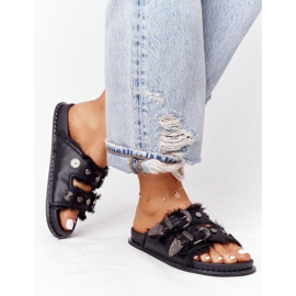 PS1 Slippers With Buckles And Fur Black Lydia 4