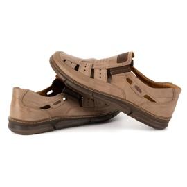 KENT Men's openwork 601 summer brown shoes 5