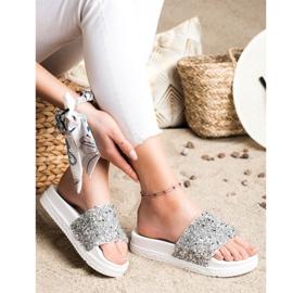 Seastar Fashionable Slippers On Platform white silver 2