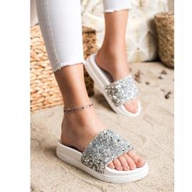 Seastar Fashionable Slippers On Platform white silver 1