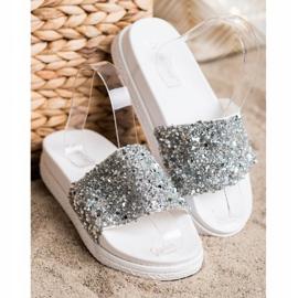 Seastar Fashionable Slippers On Platform white silver 3