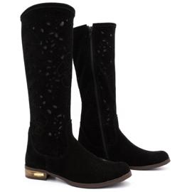 Olivier Women's openwork boots Black flowers 2