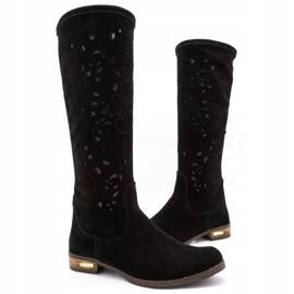 Olivier Women's openwork boots Black flowers 3