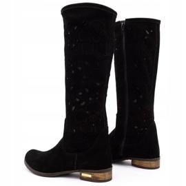 Olivier Women's openwork boots Black flowers 4