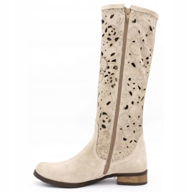 Olivier Women's openwork boots Light beige flowers 1