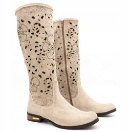 Olivier Women's openwork boots Light beige flowers 2