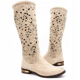 Olivier Women's openwork boots Light beige flowers 3