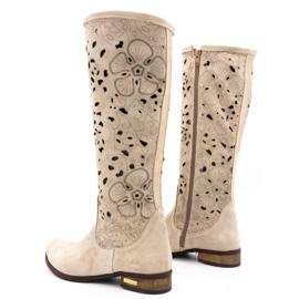 Olivier Women's openwork boots Light beige flowers 4