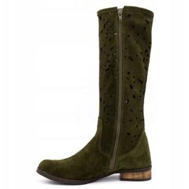Olivier Women's openwork boots Flowers green 1