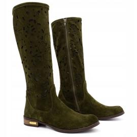 Olivier Women's openwork boots Flowers green 2