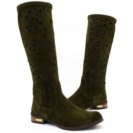 Olivier Women's openwork boots Flowers green 3