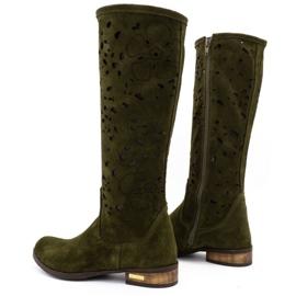 Olivier Women's openwork boots Flowers green 4