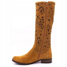 Olivier Women's openwork boots Red flowers brown orange 1