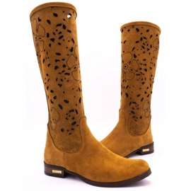 Olivier Women's openwork boots Red flowers brown orange 3