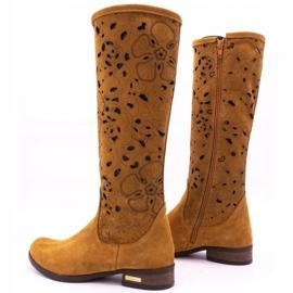Olivier Women's openwork boots Red flowers brown orange 4