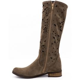 Olivier Women's openwork boots Flowers brown 1