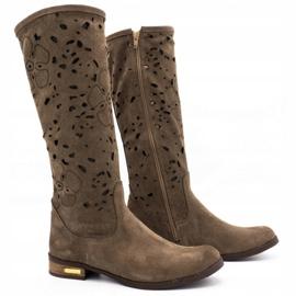 Olivier Women's openwork boots Flowers brown 2