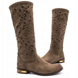 Olivier Women's openwork boots Flowers brown 3