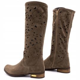 Olivier Women's openwork boots Flowers brown 4