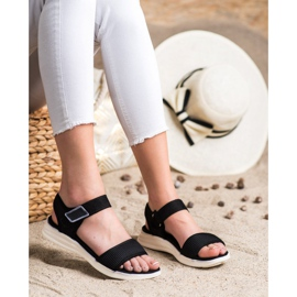 Evento Comfortable Sandals With Velcro black 1