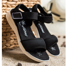 Evento Comfortable Sandals With Velcro black 3