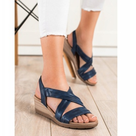 S. BARSKI Wedge Sandals S.BARSKI blue 3