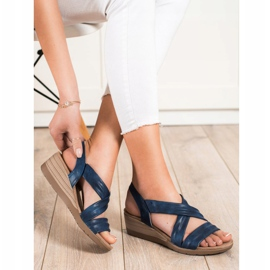 S. BARSKI Wedge Sandals S.BARSKI blue 1