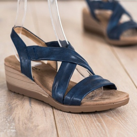 S. BARSKI Wedge Sandals S.BARSKI blue 2