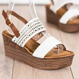S. BARSKI White Sandals On Wedge S.BARSKI brown 1