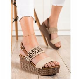 S. BARSKI Beige Sandals Na Koturnie S.BARSKI brown 2