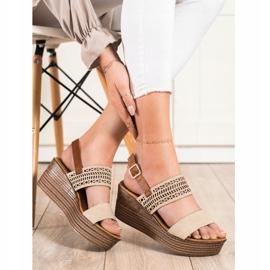S. BARSKI Beige Sandals Na Koturnie S.BARSKI brown 3