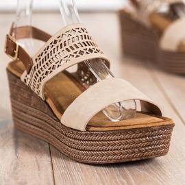 S. BARSKI Beige Sandals Na Koturnie S.BARSKI brown 1