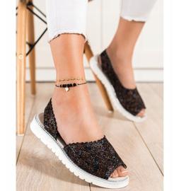 SHELOVET Comfortable leather sandals black multicolored 1