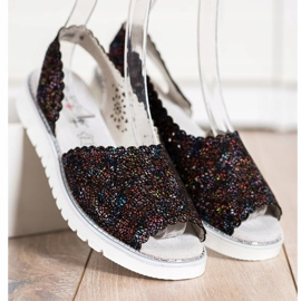SHELOVET Comfortable leather sandals black multicolored 3
