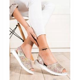 SHELOVET Comfortable leather sandals beige pink golden 1