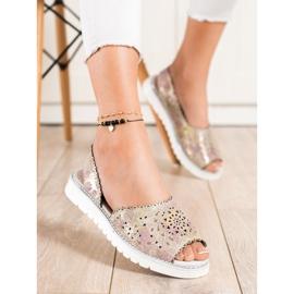 SHELOVET Comfortable leather sandals beige pink golden 3