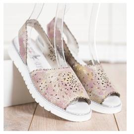 SHELOVET Comfortable leather sandals beige pink golden 2