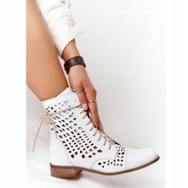 Openwork leather boots Nicole 2627 White 4