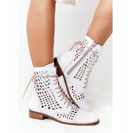 Openwork leather boots Nicole 2627 White 1