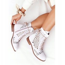 Openwork leather boots Nicole 2627 White 6