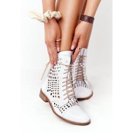Openwork leather boots Nicole 2627 White 2
