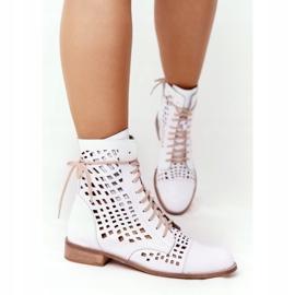 Openwork leather boots Nicole 2627 White 3