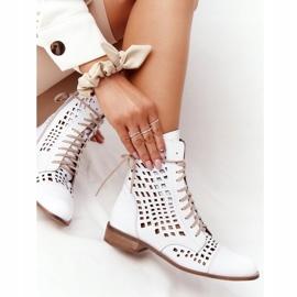 Openwork leather boots Nicole 2627 White 5