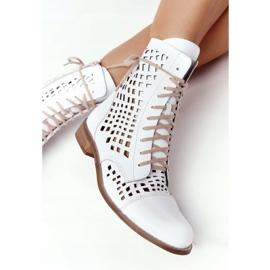 Openwork leather boots Nicole 2627 White 7