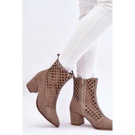 Suede Openwork Boots On High Heel Nicole 2638 Cappuccino beige 2
