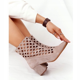 Suede Openwork Boots On High Heel Nicole 2638 Cappuccino beige 7