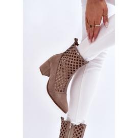 Suede Openwork Boots On High Heel Nicole 2638 Cappuccino beige 3