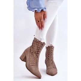 Suede Openwork Boots On High Heel Nicole 2638 Cappuccino beige 1